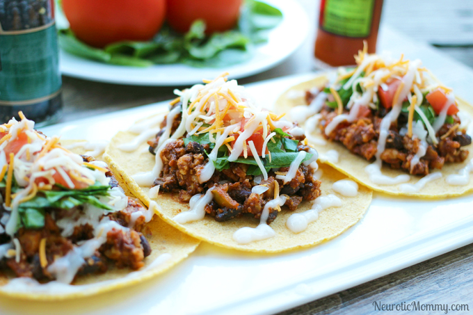 Black Bean Soft Shell Vegan Tacos - Perfect for Cinco de Mayo festivities! NeuroticMommy.com #tacos #vegan