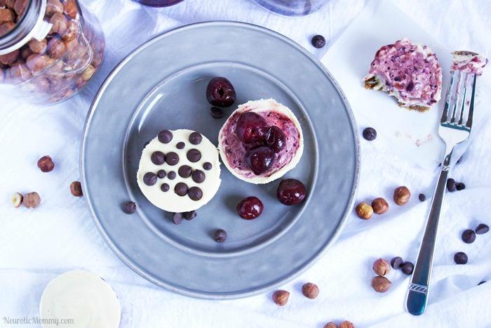 No Bake Mini Cherry and Chocolate Chip Cheesecakes