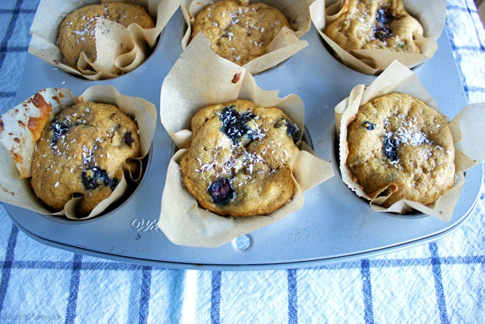 Blueberry Coconut Banana Muffins