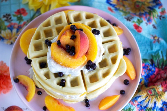 Mother's Day Peach Coconut Waffles