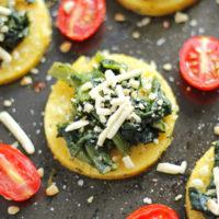 Mini Spinach Polenta Cheese Pizzas Vegan
