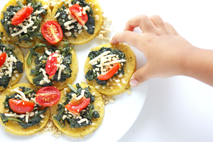 Mini Spinach Polenta Cheese Pizzas Vegan