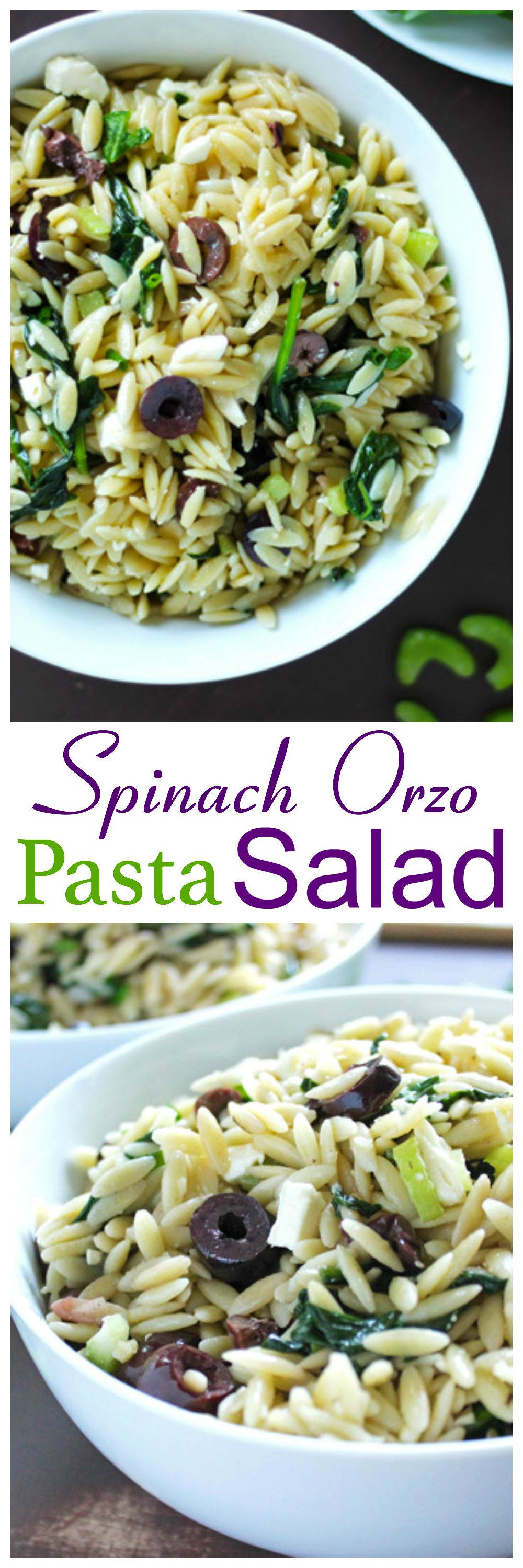 Spinach Orzo Pasta Salad. An all star salad. Easy to make, easily portable and taste great whether it be hot or cold. Always a hit, never a miss! neuroticmommy.com