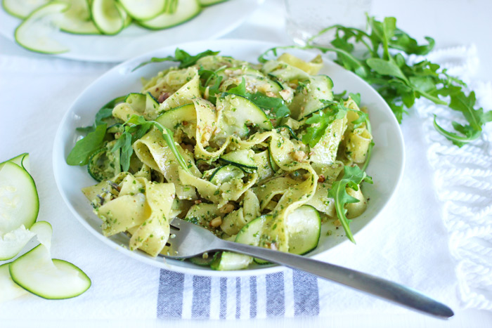 pappardelle with zucchini and arugula walnut pesto vegan pasta