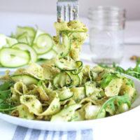 pappardelle with zucchini and arugula walnut pesto vegan pasta