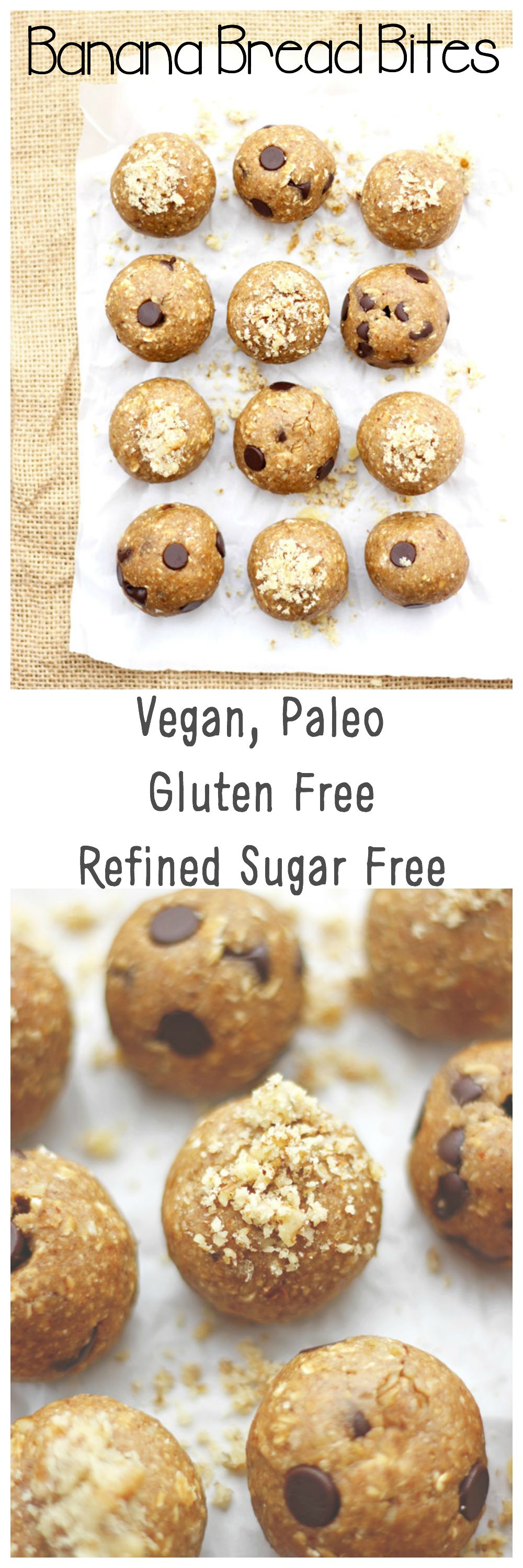 This is banana bread on the go. These no bake, perfect little protein packed banana bread bites are that quick fix when you don't feel like baking a whole loaf. Bonus!~~They just happen to be super healthy. neuroticmommy.com #vegan #snacks #protein