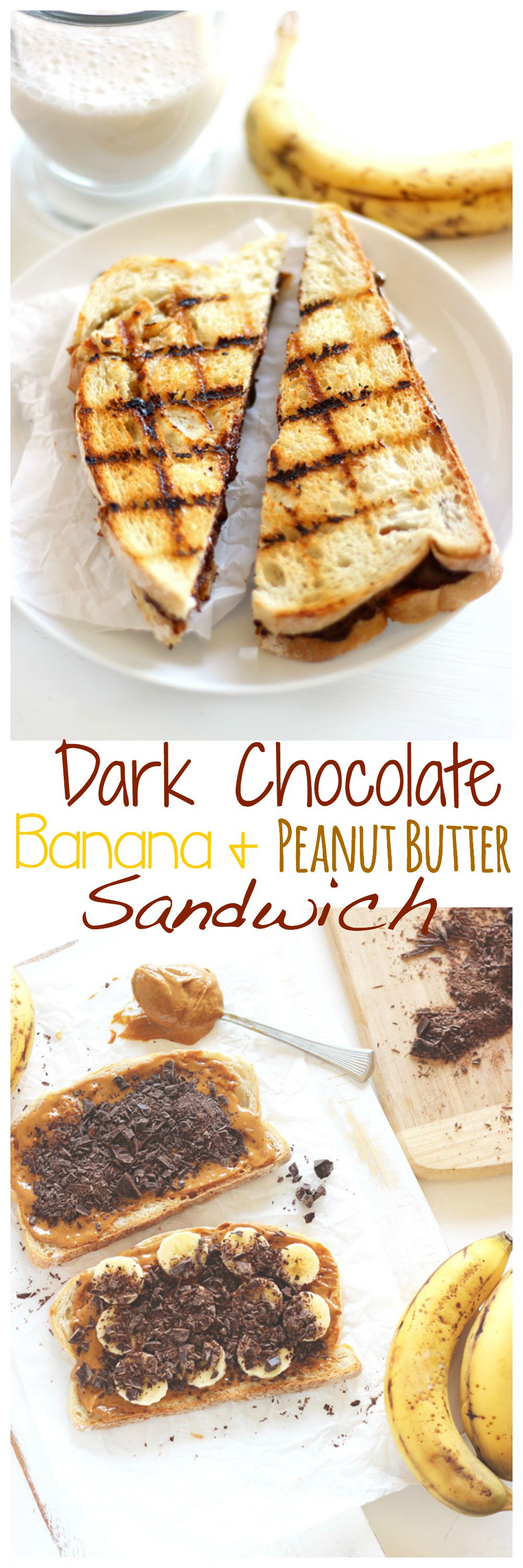 Grilled Chocolate Banana and Peanut Butter Sandwich. Melted dark chocolate, creamy peanut butter and sweet bananas all wrapped up in one sandwich. All this amazingness in each and every bite! neuroticmommy.com #vegan #healthy