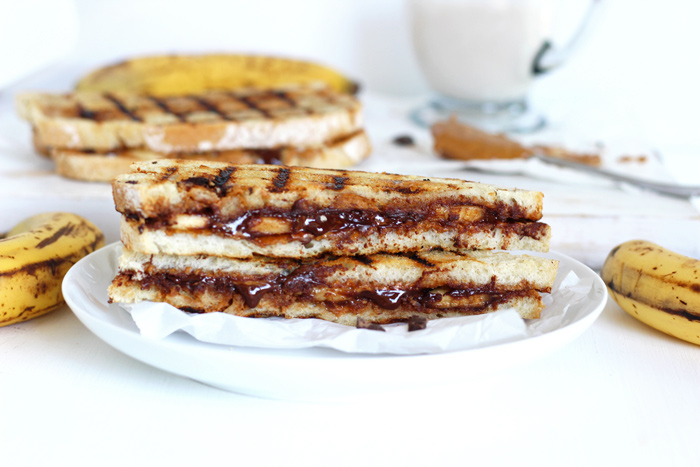 Grilled Chocolate Banana and Peanut Butter. Melted chocolate, creamy ...