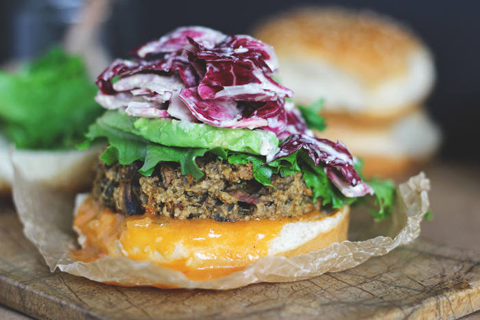 The Best Veggie Big Mac Burger with Radicchio Slaw (Vegan GF), using organic greens and a simple dressing to put the Big Mac to shame. This is where real fast food happens. neuroticmommy.com #vegan