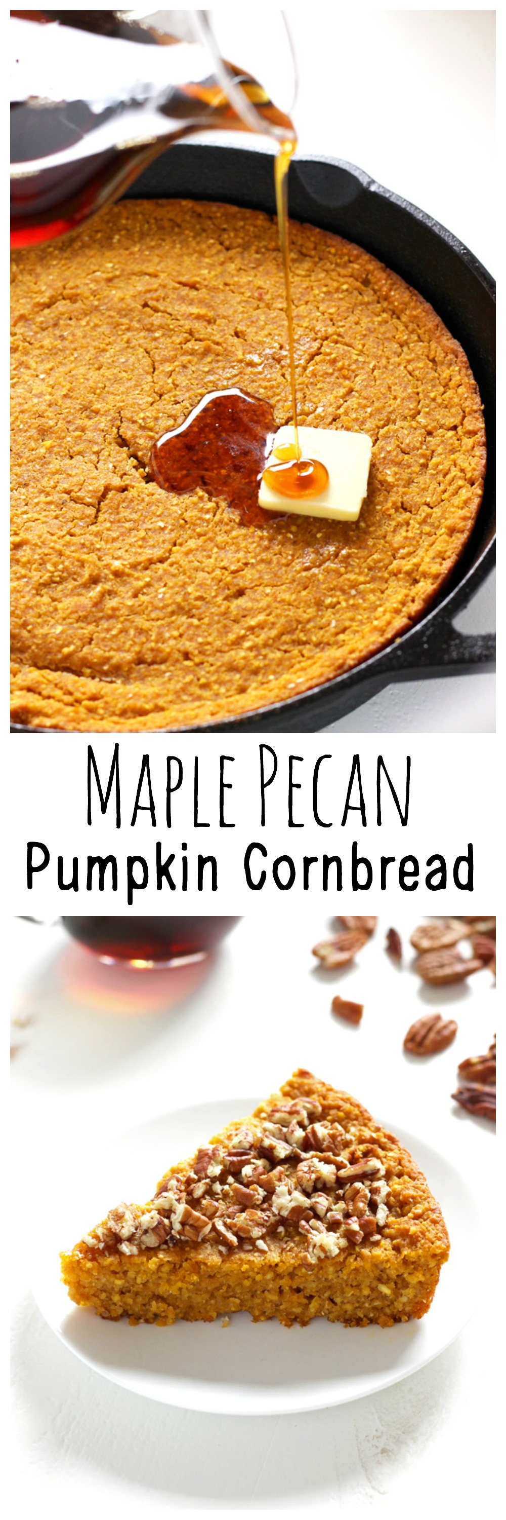 Maple Pecan Pumpkin Cornbread - Three delicious flavors all combined in an easy to bake, holiday favorite.