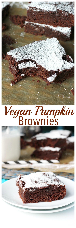 The Best Vegan Pumpkin Brownies. Chocolatey, decedent, with just the right amount of pumpkin. Tis the season! NeuroticMommy.com #vegan #chocolate #pumpkin #halloween