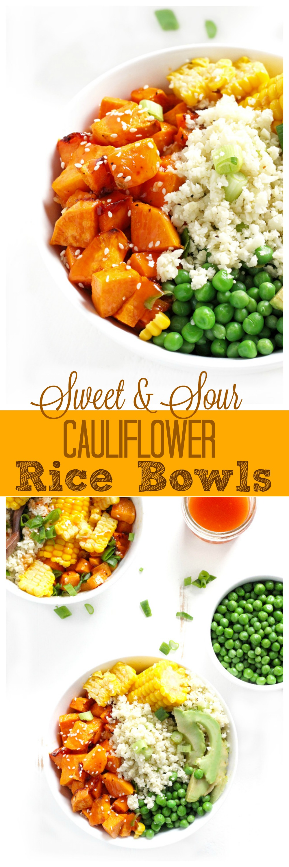 Sweet and Sour Cauliflower Rice Bowls are a super easy meal packed with sweet and savory flavors. The perfect balance of healthy carbs, fats and proteins. NeuroticMommy.com #vegan #healthy