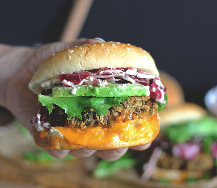 The Best Veggie Burger with Radicchio Slaw