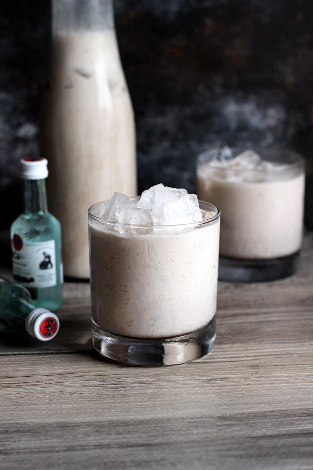 Vegan Coquito - A traditional sweet Puerto Rican Egg Nog-like alcoholic beverage that is served every Christmas. Enjoy this thick and creamy vegan version that tastes just like the real thing! NeuroticMommy.com #vegan #beverages