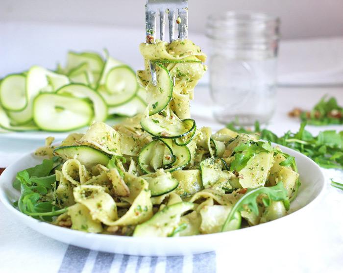 Pappardelle with Zucchini and Arugula Walnut Pesto