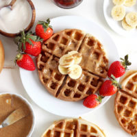 Chocolate Marble Protein Waffles - Incredibly fluffy and chocolatey waffles jam packed with proteins and superfoods. Deliciously healthy. NeuroticMommy.com #vegan #breakfast #protein