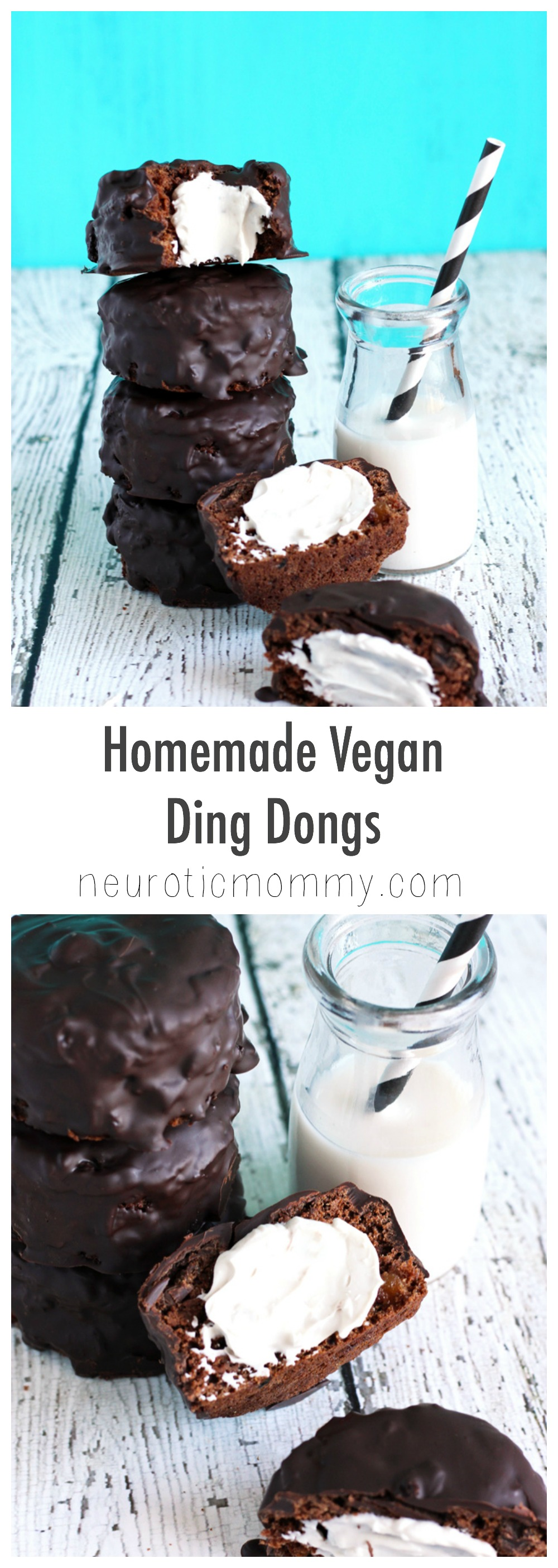 Outstanding Homemade Vegan Ding Dongs - Chocolate cakes with a cream filling and a dark chocolate coating. Not only are they vegan, they're good for you. NeuroticMommy.com #vegan #healthy #cakes