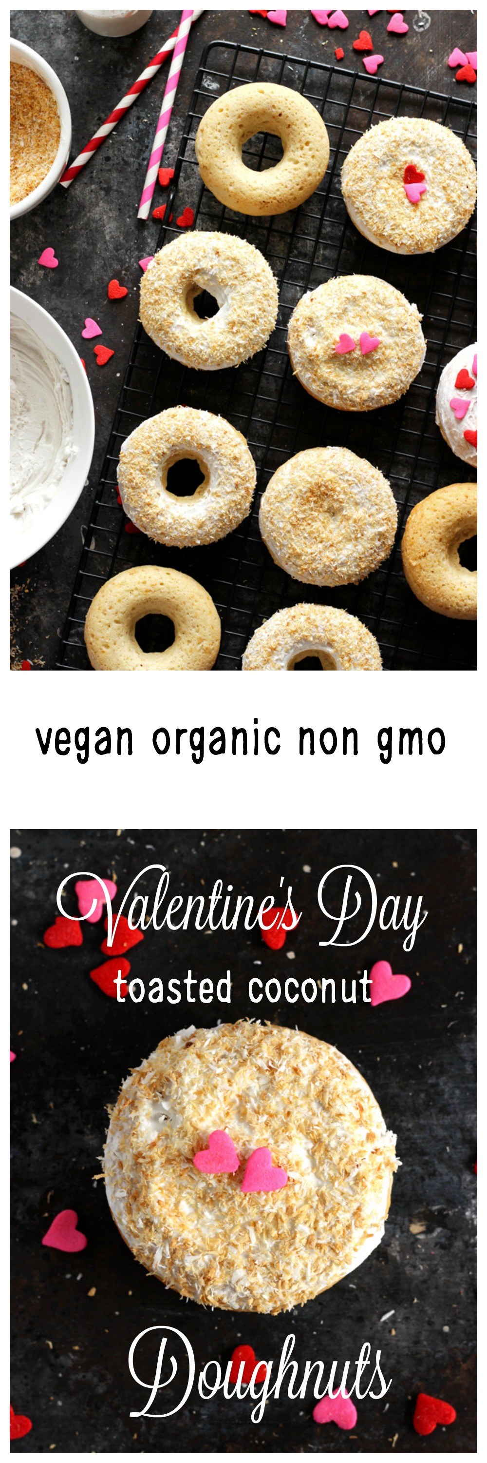 Valentine's Day Toasted Coconut Doughnuts - Fluffy cream filled doughnuts topped with a toasted coconut and hearts. Perfect for Valentine's Day! NeuroticMommy.com #vegan #valentinesday #donuts