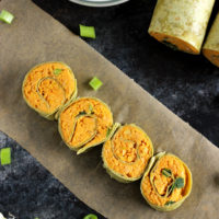 Buffalo Chickpea Pinwheels with Vegan Blue Cheese - Vegan fingerfood made healthy! Homemade buffalo sauce with mashed chickpeas, wrapped in a spinach tortilla, with vegan blue cheese for dipping! NeuroticMommy.com #vegan #healthy