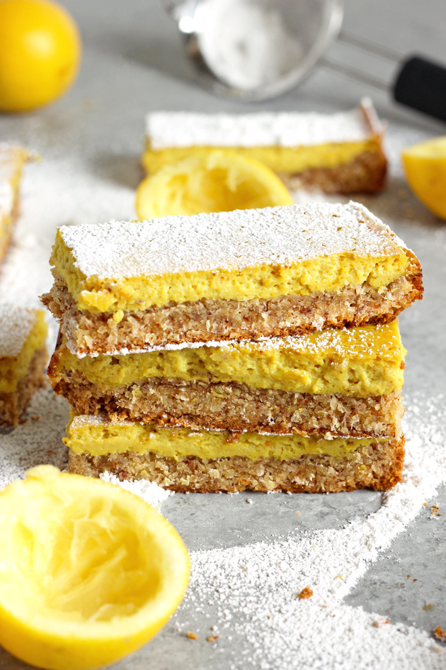 Easy Vegan Organic Lemon Bars - A super easy lemony snack just in time for Easter! Healthy and totally vegan. NeuroticMommy.com #healthy #vegan