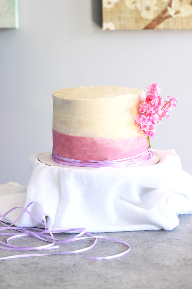 Pink Ombre Birthday Cake - Celebrate your birthday with this decedent chocolate buttercream filled cake, made completely vegan! NeuroticMommy.com #cakes #vegan #birthday