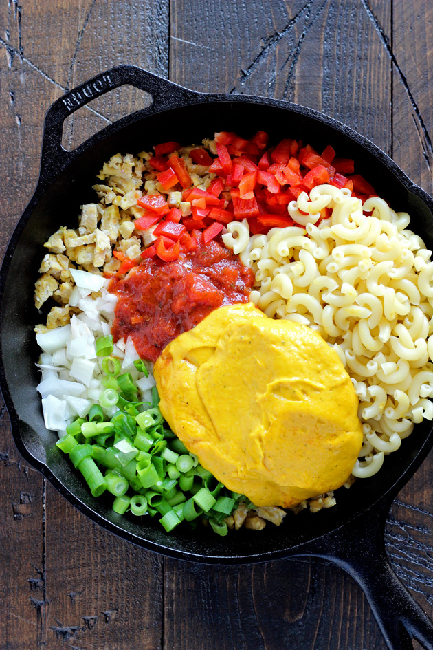 One Skillet Vegan Hamburger Helper - Using a homemade vegan cheese sauce and tempeh, giving this meal the healthy twist it deserves. Ultra cheesy, kid and adult approved. NeuroticMommy.com #vegan #healthy