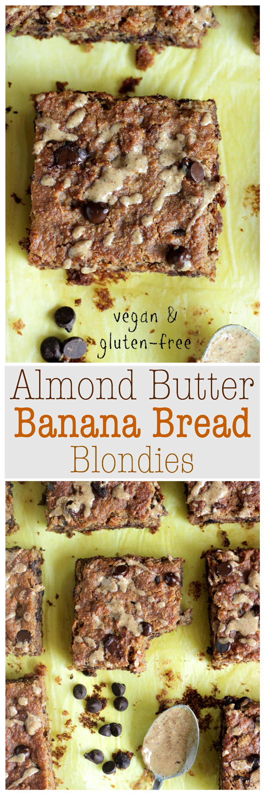 Almond Butter Banana Bread Blondies - These vegan, gluten-free blondies are just in time for summer. They're healthy, full of delicious healthy fats and fiber, oh and most importantly stuffed with creamy almond butter, bananas and chocolate! NeuroticMommy.com #vegan #healthy #snacks