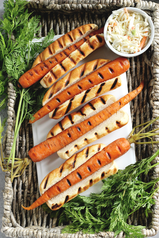 Fourth of July Carrot Dogs - Plant-based veggie dogs are so much fun! Especially when things like this are super easy to make, not processed, and healthy for you. NeuroticMommy.com #vegan #4ofjuly #healthy
