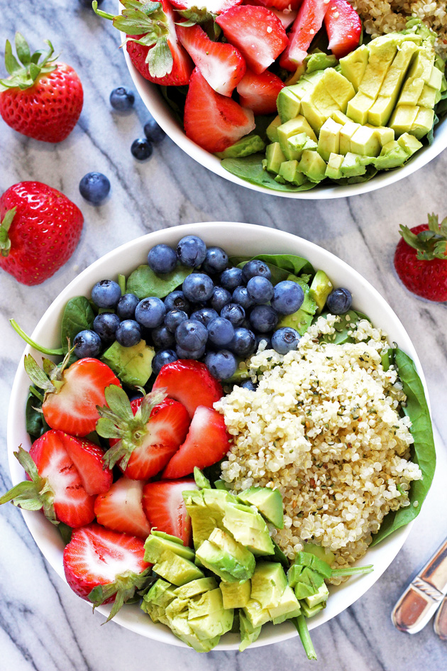 Strawberry Blueberry Quinoa Summer Salad - A healthy salad mixed perfectly with sweetness, and packed with plant based protein ready to beat the heat. NeuroticMommy.com #healthy #vegan #salads