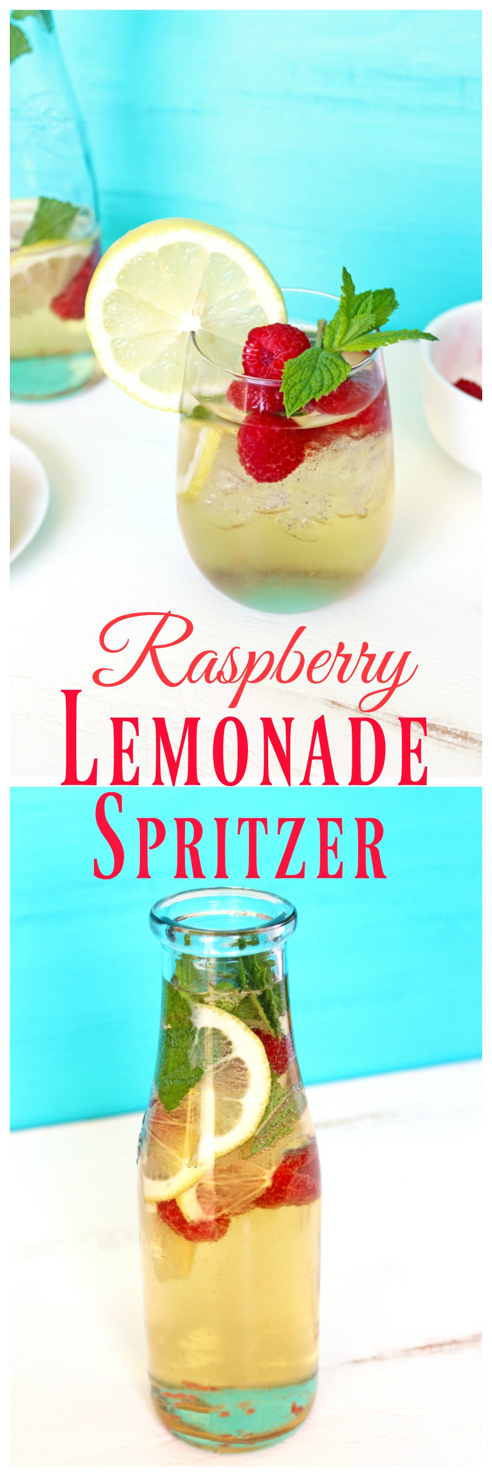 Raspberry Lemonade Spritzer - Refreshing and cool; a simple no-frills classic meant for moms or parents. It's 5o'clock somewhere! NeuroticMommy.com #momlife #vegan