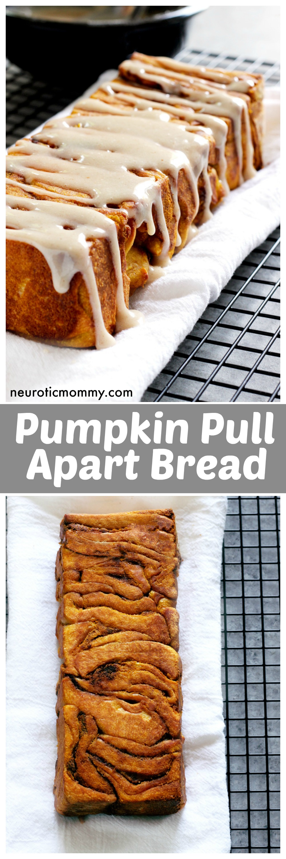 Pumpkin Pull Apart Bread - the perfect comforting snack to kick off fall season with. Drizzled with pumpkin spice icing, you cannot go wrong! NeuroticMommy.com #vegan #fall #breads