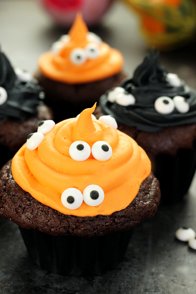 Halloween Monster Witch Cupcakes - This is the perfect treat to make for Halloween especially if you don't have much time. They're moist, chocolatey, and spooky. Perfect for the days festivities! NeuroticMommy.com #vegan #halloween
