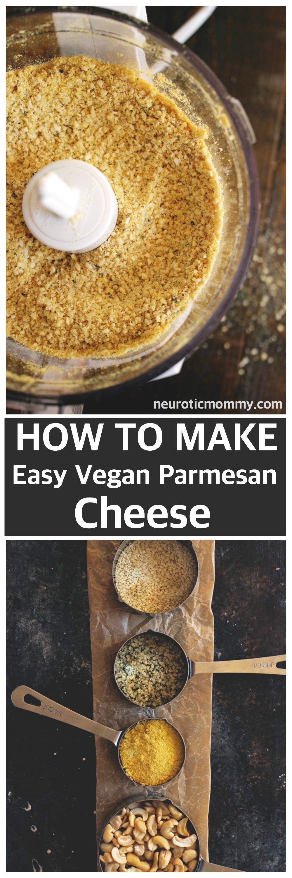 How To Make Easy Vegan Parmesan Cheese - A simple way to make a classic, traditional fave! NeuroticMommy.com #vegan #healthy #howto