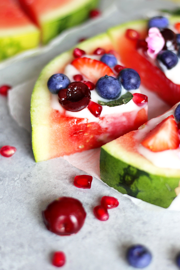 Watermelon Pizza - Easy Fun Snacking because snacks shouldn't be a crime! Enjoy this nutritious and fun treat without the guilt. NeuroticMommy.com #snacks #health #plantbased