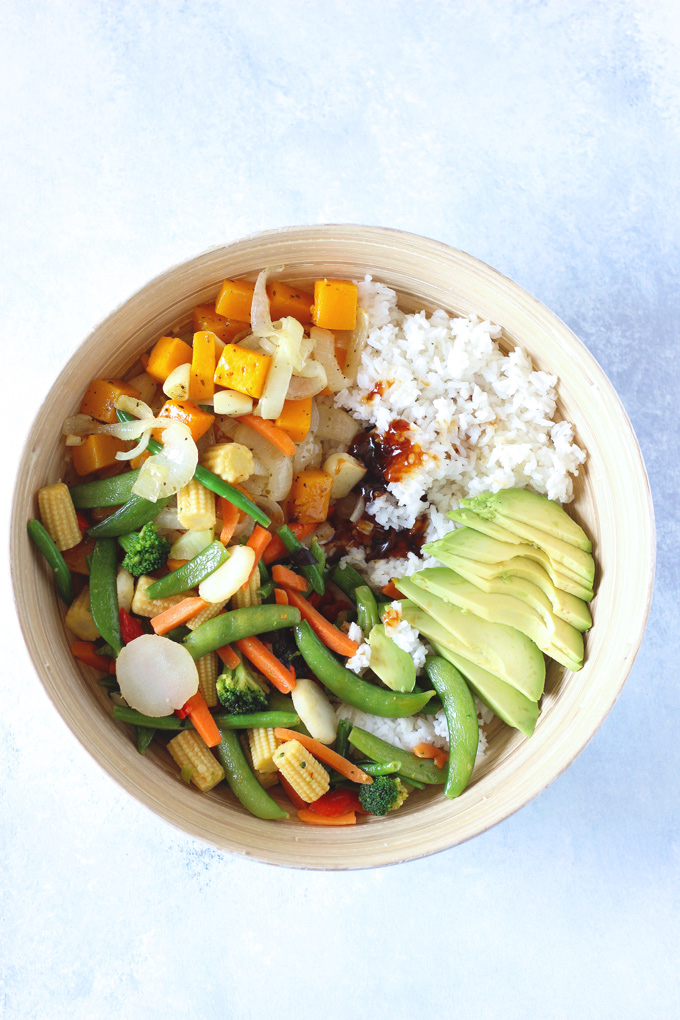 Family Style Veggie Rice Bowl - An easy, healthy meal the whole family can get in on! Loaded with all sorts of veggies. Feel free to add whatever else you like. NeuroticMommy.com #vegan #family #dinner