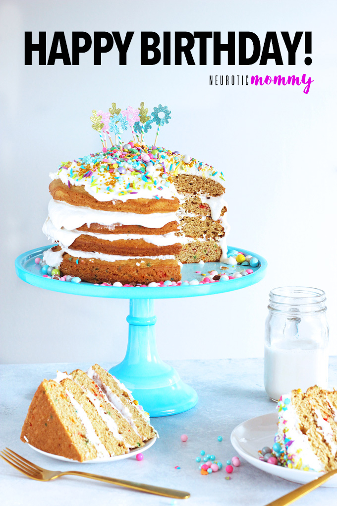 Unicorn Birthday Cake Celebrations - Celebrate with NeuroticMommy bringing in her birthday colorful, sparkly, and full of love! This vanilla dream unicorn cake is totally vegan and overloaded with coconut whipped cream! NeuroticMommy.com #birthdaycake #vegan #cake
