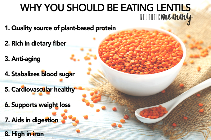 Why You Should Be Eating Lentils - All the health benefits you need to know. NeuroticMommy.com #healthfacts #vegan #protein