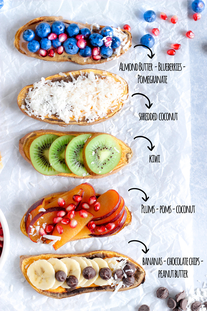 Sweet Potatoes are the New Toast 5 Ways! - This toast has been all the rage. Make up your own combo or follow the recipe here and you'll have this sweetness all ready for ya in the matter of minutes! NeuroticMommy.com #healthy #snacks #vegan #plantbased