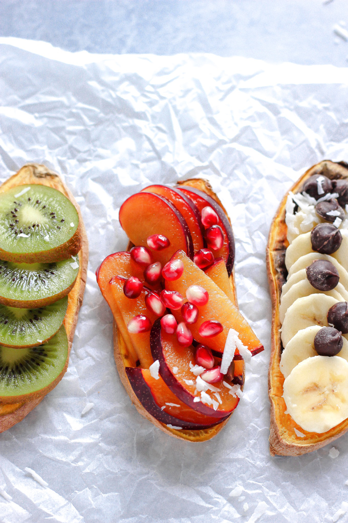 Sweet Potatoes are the New Toast 5 Ways - This toast has been all the rage. Make up your own combo or follow the recipe here and you'll have this sweetness all ready for ya in the matter of minutes! NeuroticMommy.com #healthy #snacks #vegan #plantbased