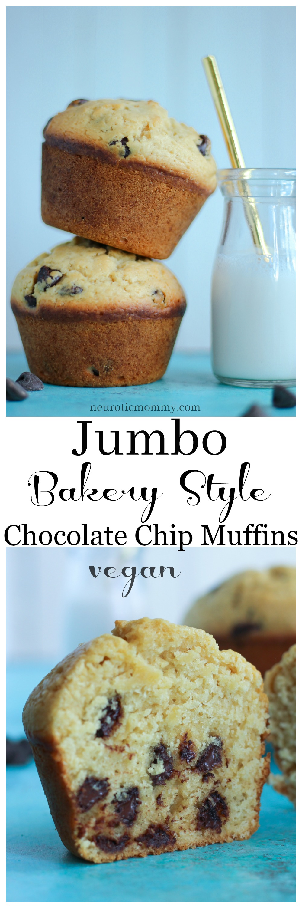 Jumbo Bakery Style Chocolate Chip Muffins | NeuroticMommy