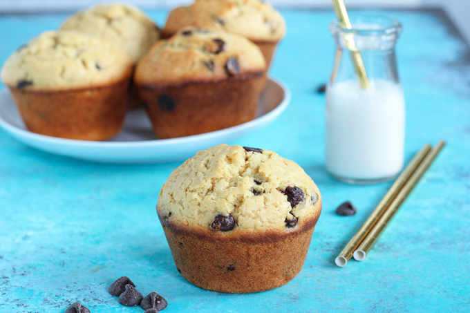 Jumbo Bakery Style Chocolate Chip Muffins - These vegan fluffy and moist muffins are perfect for breakfast, brunch or snack time. Each bite filled with melty chocolate chips! NeuroticMommy.com #vegan #muffins #snacks