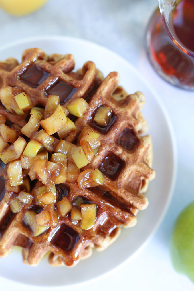 Vanilla Protein Applesauce Waffles - Easy to make, fluffy, highly nutritious without sacrificing texture or flavor, a must try! NeuroticMommy.com #breakfast #applesauce #waffles #veganmeals
