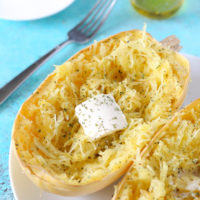 My Favorite Way To Eat Spaghetti Squash - Using garlic, olive oil and vegan butter, it's one of the easiest most delicious ways to enjoy this vegetable. NeuroticMommy.com #squash #spaghetti #lowcarb