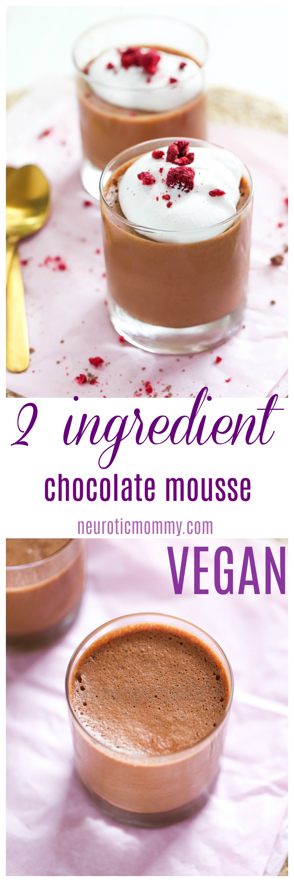 2 Ingredient Vegan Chocolate Mousse - Made with aquafaba this creamy & delicious treat is made with only 2 healthy ingredients. The perfect chocolate snack! NeuroticMommy.com #vegansnacks #veganmousse, #chocolatemousse, #aquafaba