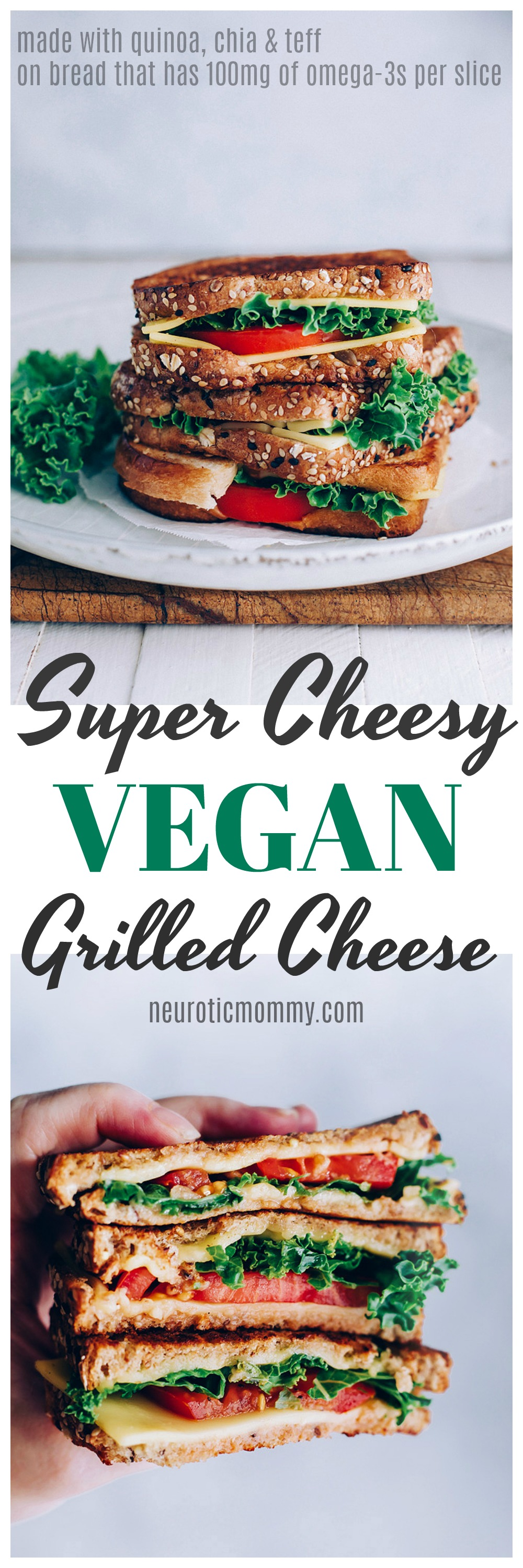 Super Cheesy Vegan Grilled Cheese - A gloriously gooey grilled cheese making this the ultimate sandwich at home the whole family will be sure to devour! NeuroticMommy.com #veganlunches #vegansandwiches