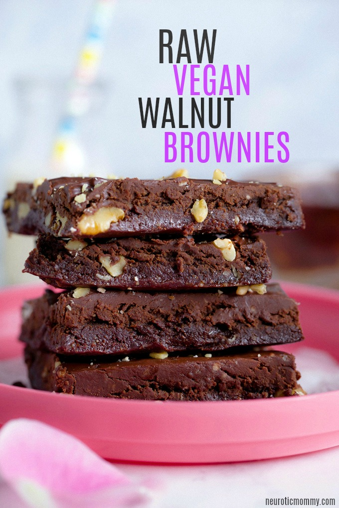 Raw Vegan Walnut Brownies With Chocolate Ganache - Hands down the best no bake vegan brownies EVER! No refined sugars and gluten free. NeuroticMommy.com #vegan #brownies #raw