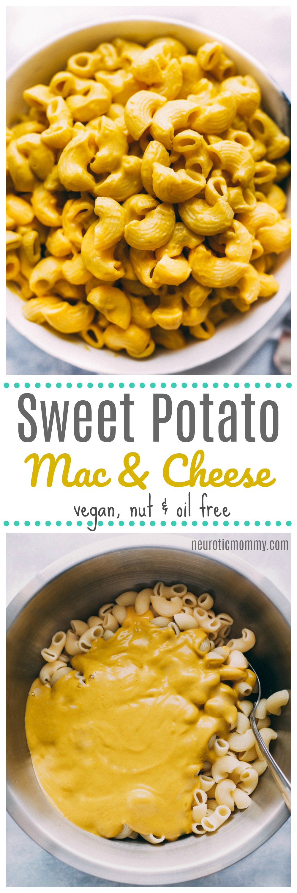 Sweet Potato Mac & Cheese - This will be your new favorite vegan cheese dish. It's healthy, nut free, super smooth, creamy and delicious. NeuroticMommy.com #vegan #sweetpotato