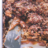 Vegan Pumpkin Pecan Cobbler - A fall must have! Enjoy this soft chewy cake oozing with pumpkin caramel in every bite! NeuroticMommy.com #vegan #pumpkin #cobbler