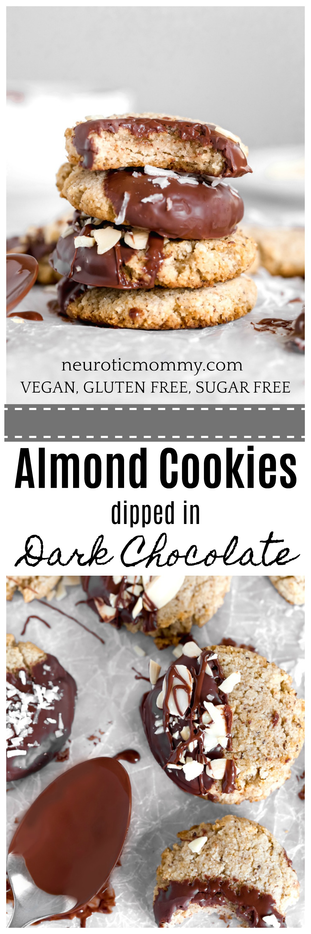 Almond Cookies Dipped in Dark Chocolate (Vegan - Sugar Free) - Where chewy cookies meet dark chocolate for an awesomely sweet sugar free snack you can feel good about! NeuroticMommy.com #vegan #sugarfree #glutenfree