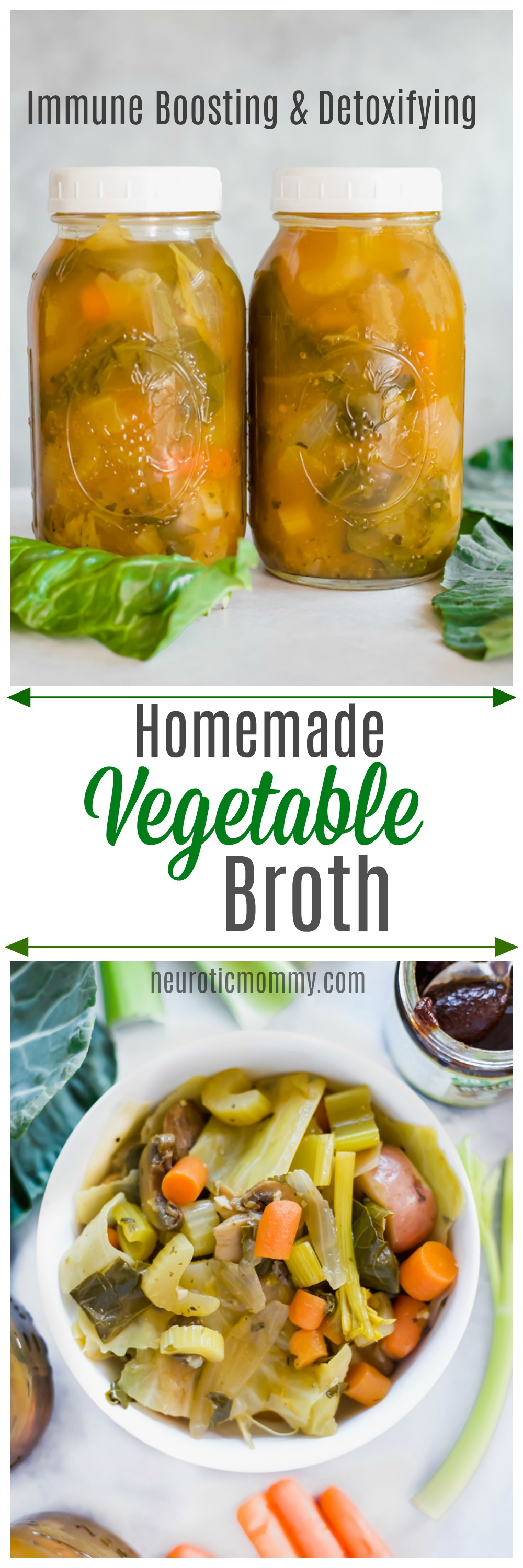 Immune Boosting Homemade Vegetable Broth - Fight against colds and flus by building up your immune system with this anti-inflammatory broth. Keeping healthy no matter what the season is optimal. NeuroticMommy.com